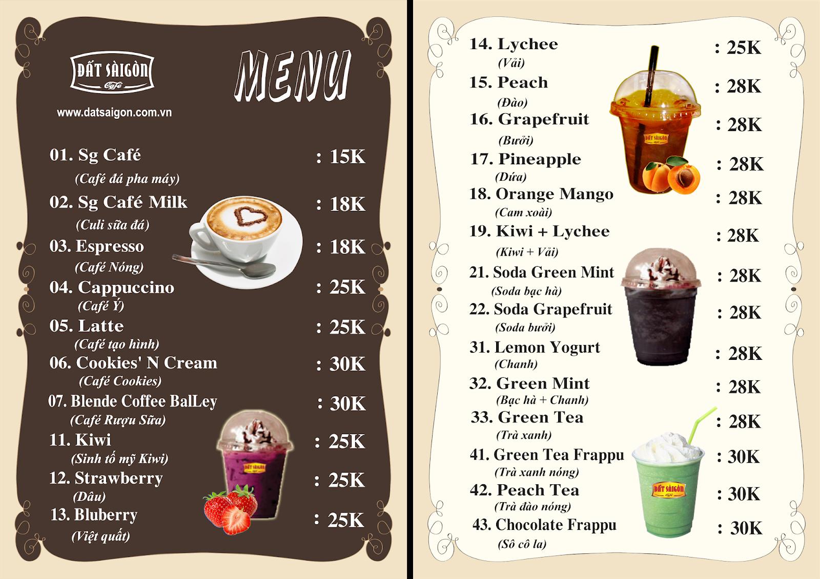 Dịch vụ in menu cafe quán bar nhanh chóng uy tín